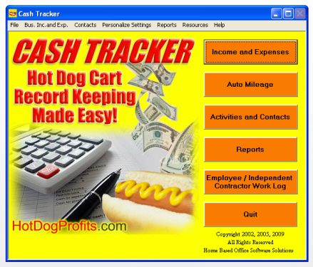 Hot Dog Cart Cash Tracker Bookkeeping Software